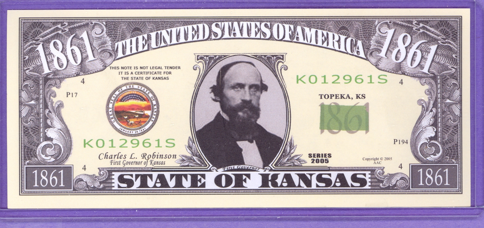 State of Kansas Novelty or Fantasy Note