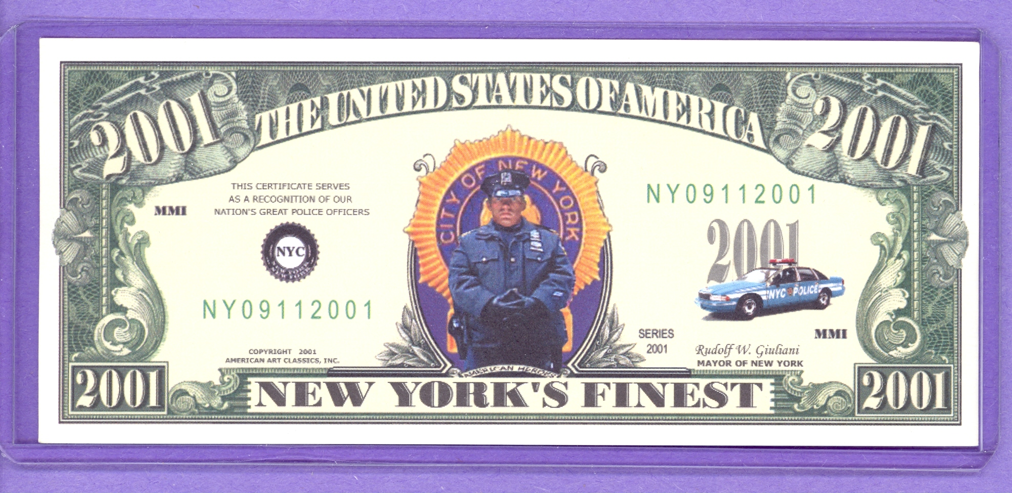 New York Finest Police 2001 Fantasy Note