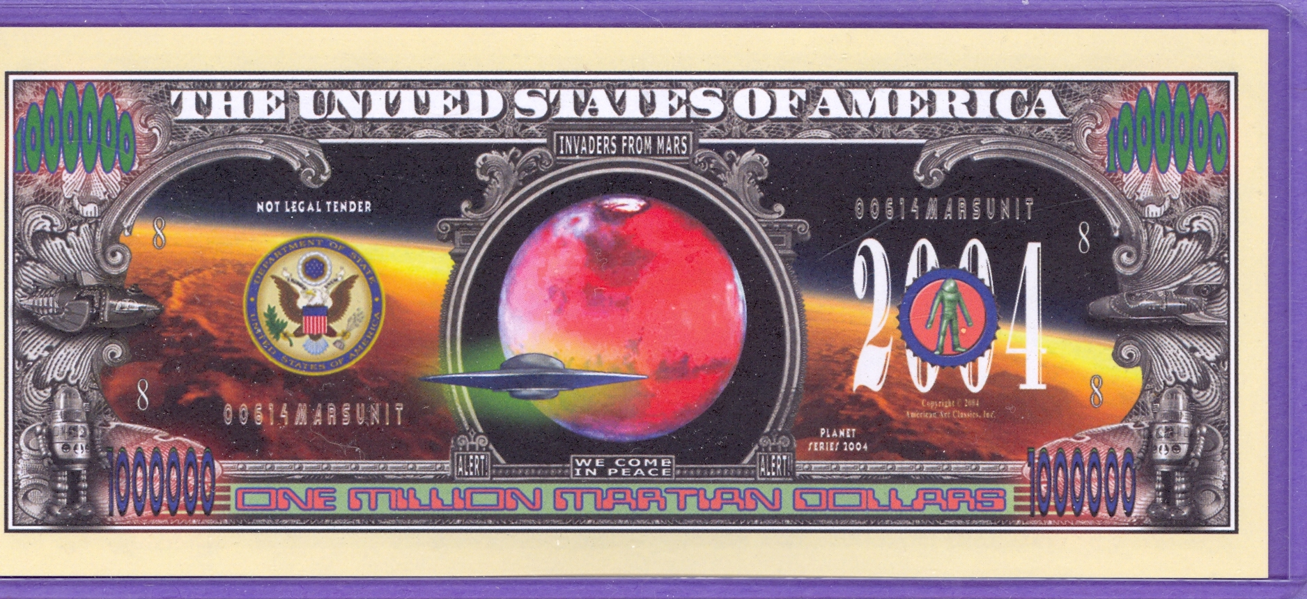 2004 Martian $1,000,000 Novelty Note