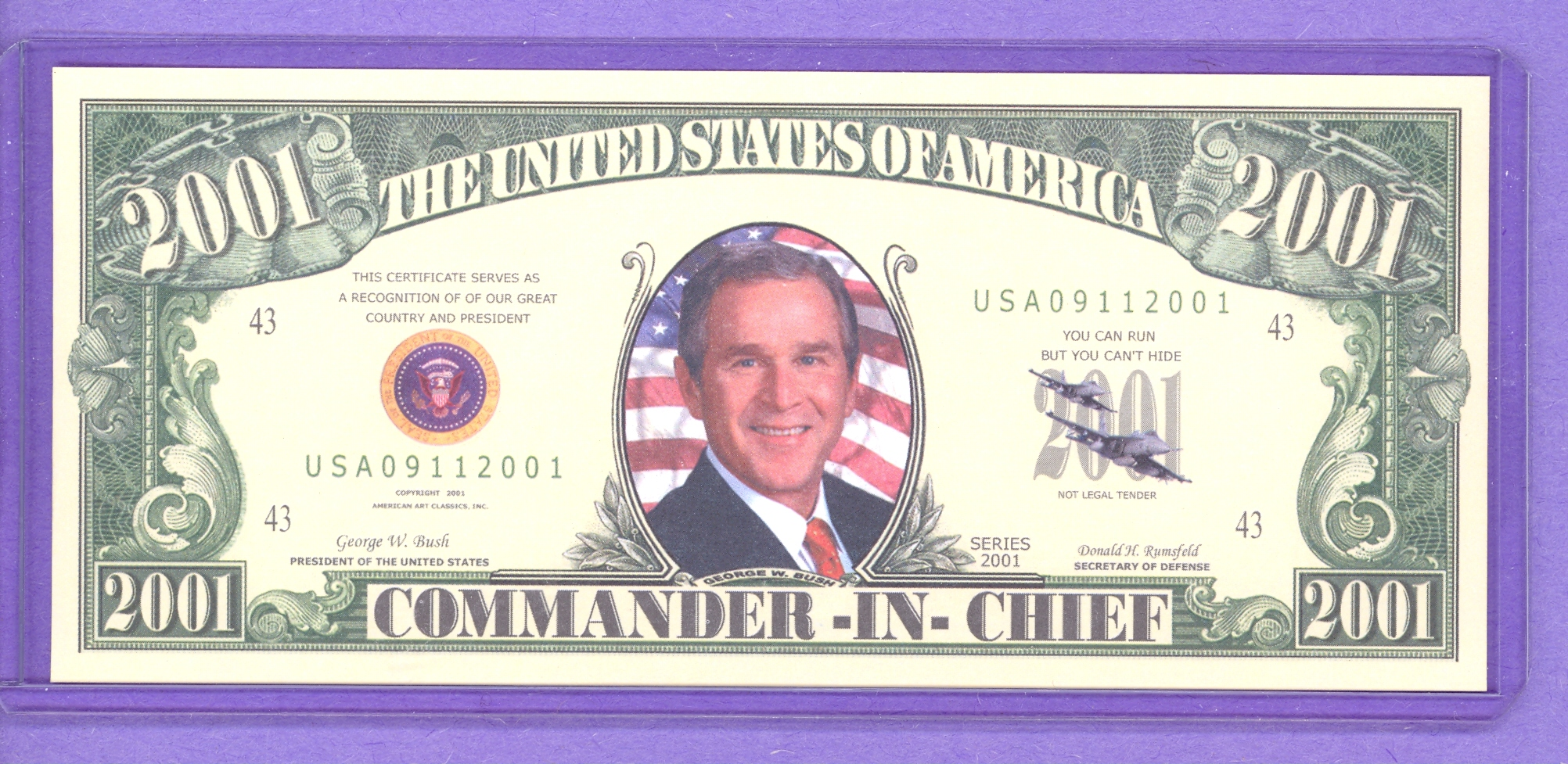 2001 Commander In Chief Two Thousand One Dollar Note