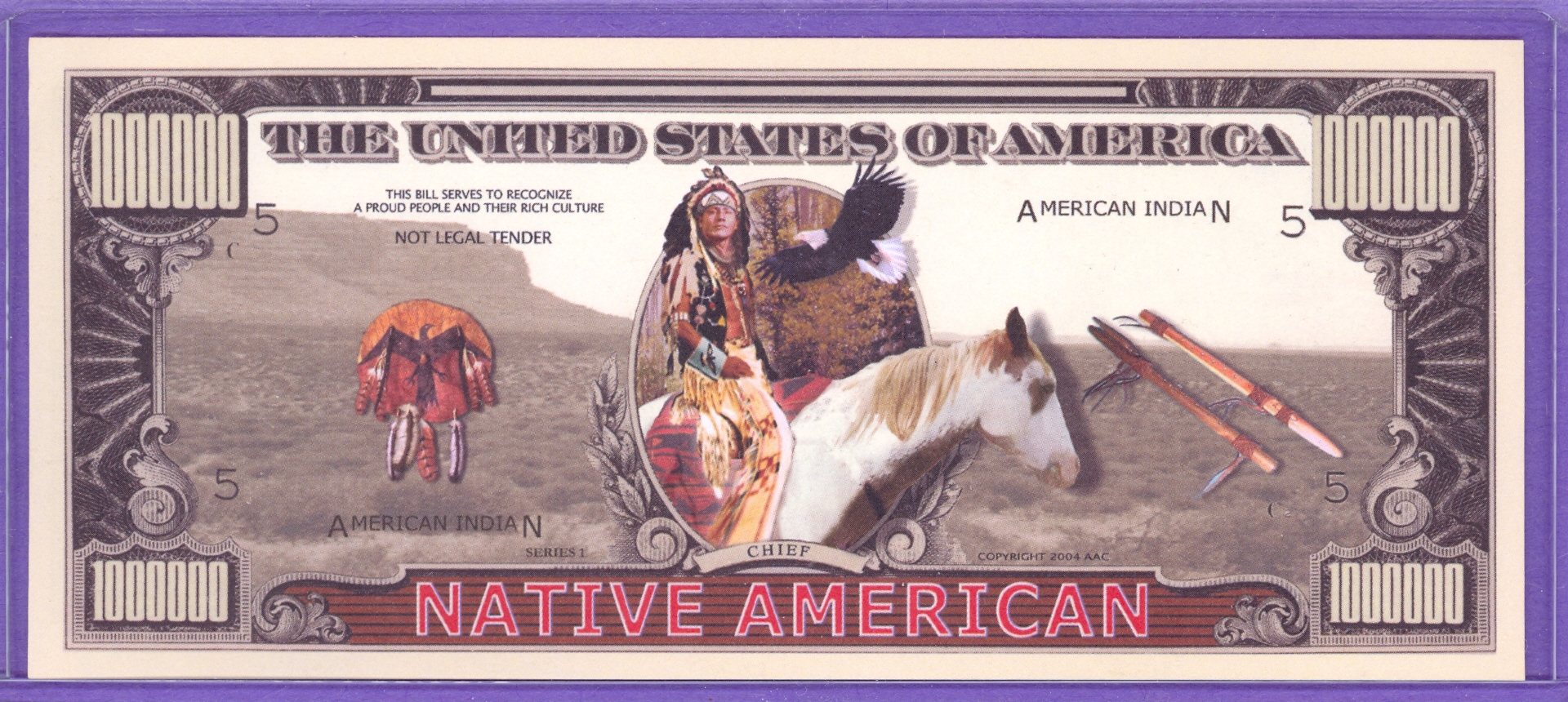 Native American $1,000,000 Novelty or Fantasy Money