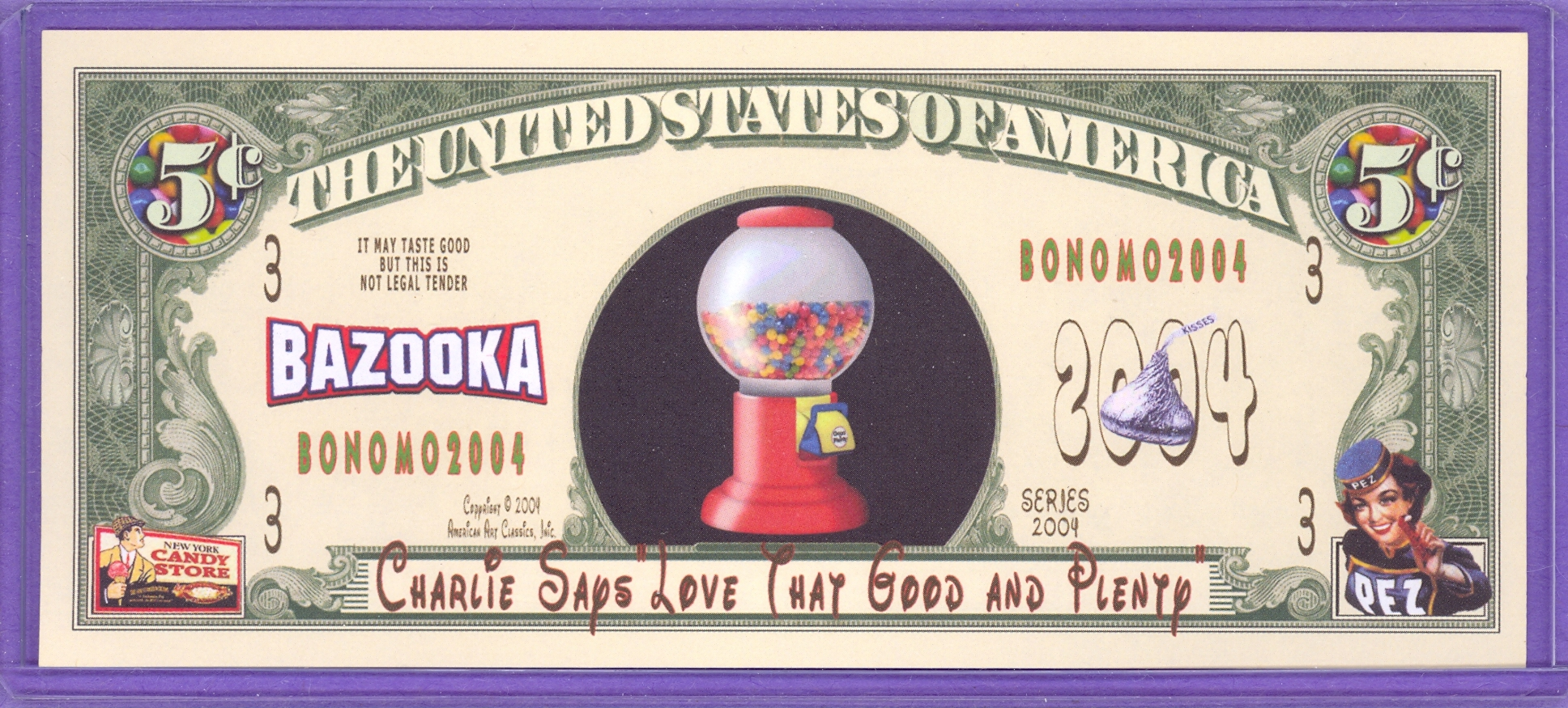 Bazooka Bubble Gum 5 cent Novelty Money Nickel Candy Store