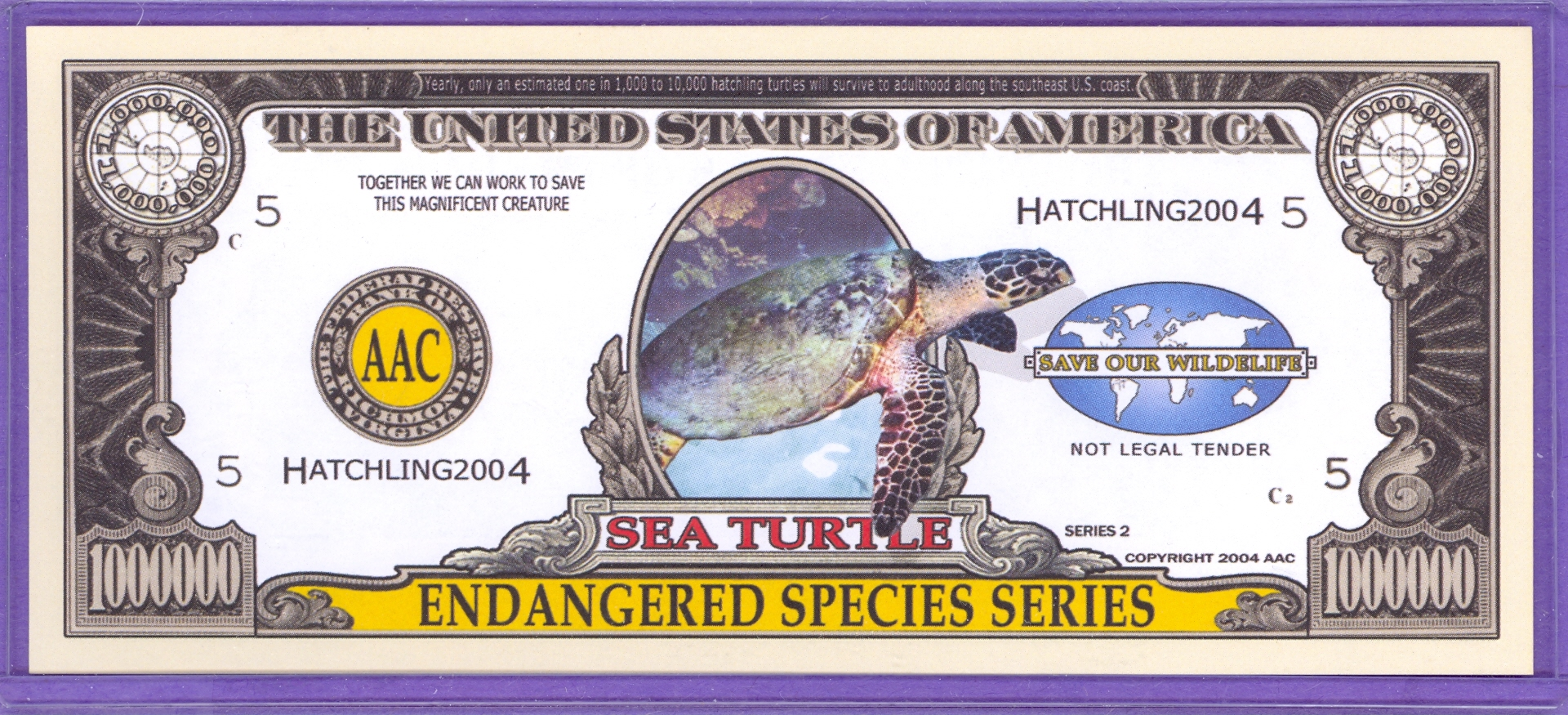 Sea Turtle $1,000,000 Novelty Note - Endangered Species
