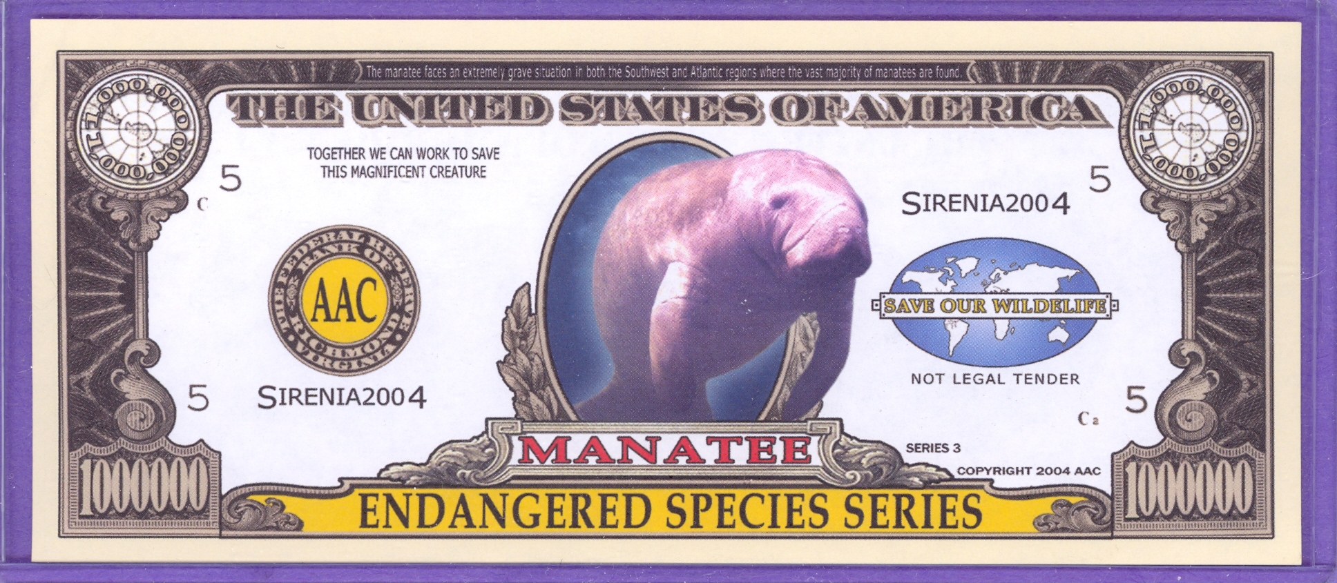Manatee $1,000,000 Novelty Note - Endangered Species