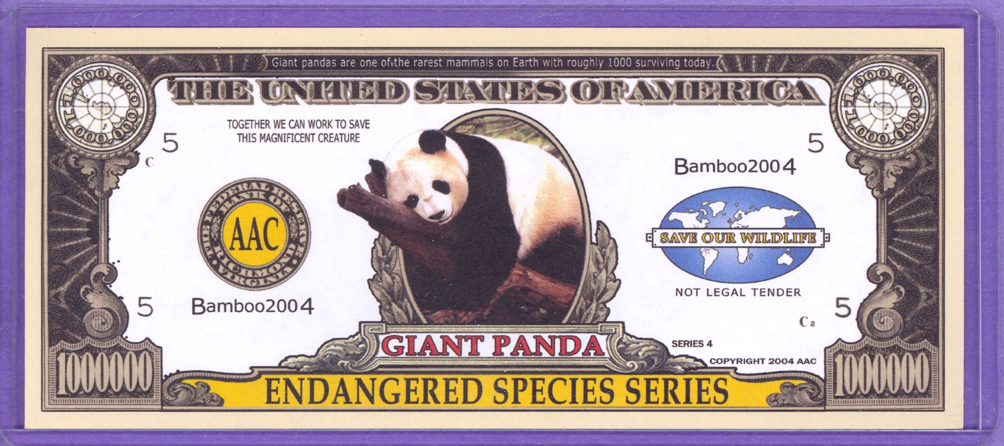 Giant Panda $1,000,000 Novelty Note - Endangered Species