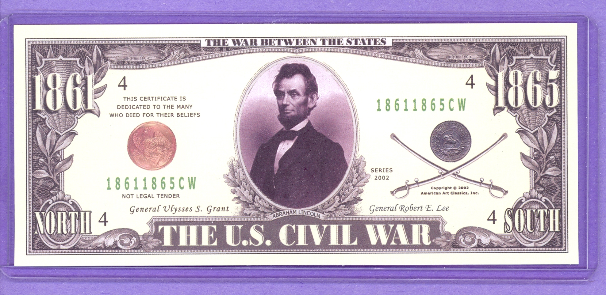 2002 Civil War Note - Lincoln, Grant, Lee