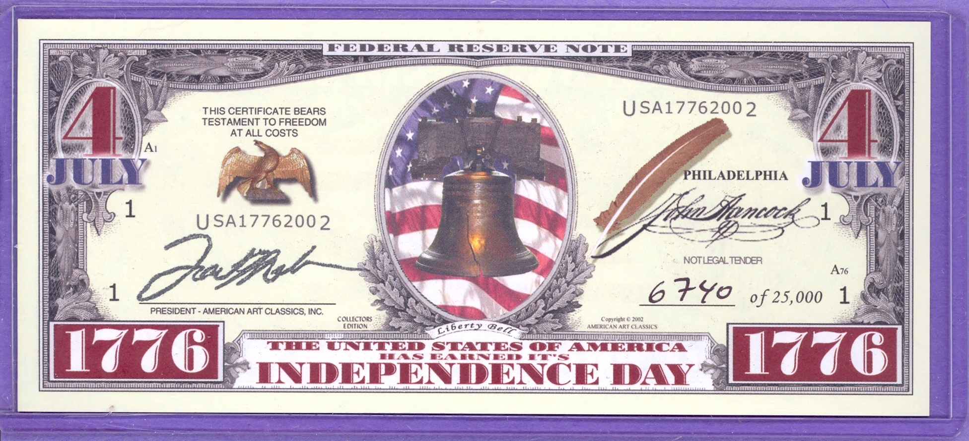 2002 Limited Edition Independence Day Note