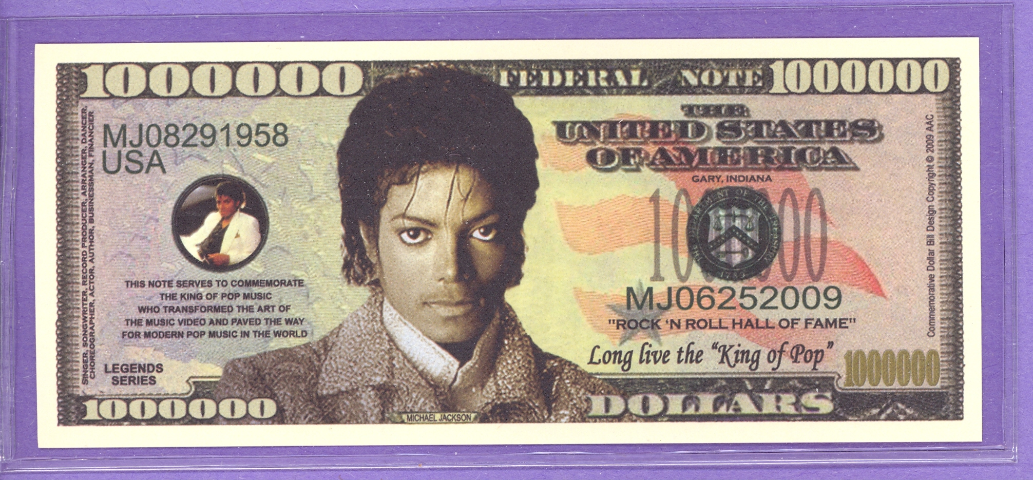 Michael Jackson $1,000,000 Fantasy or Novelty Note