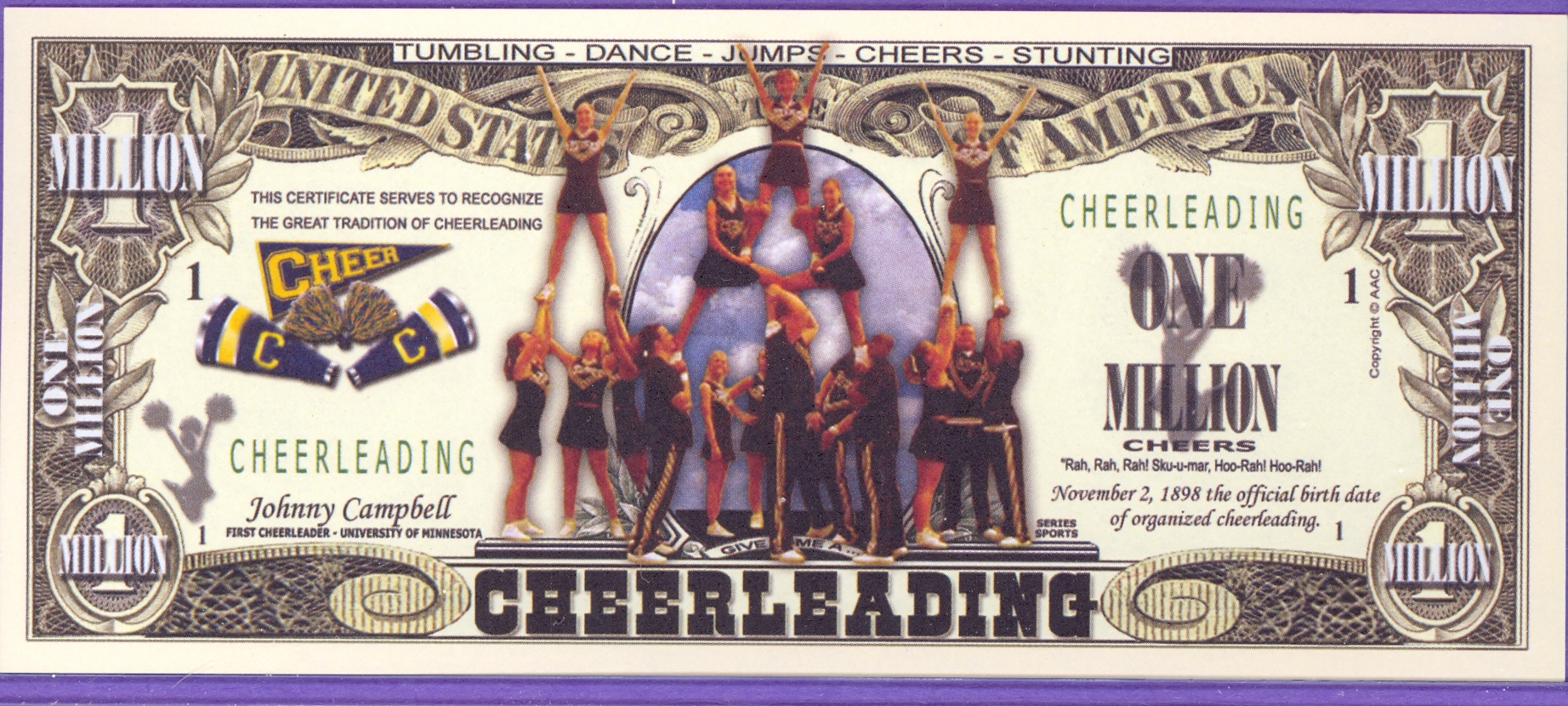 Cheerleading Million Dollar Fantasy or Novelty Note