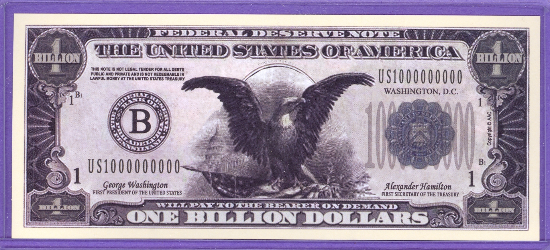 One Billion Dollar Fantasy or Novelty Note - Eagles