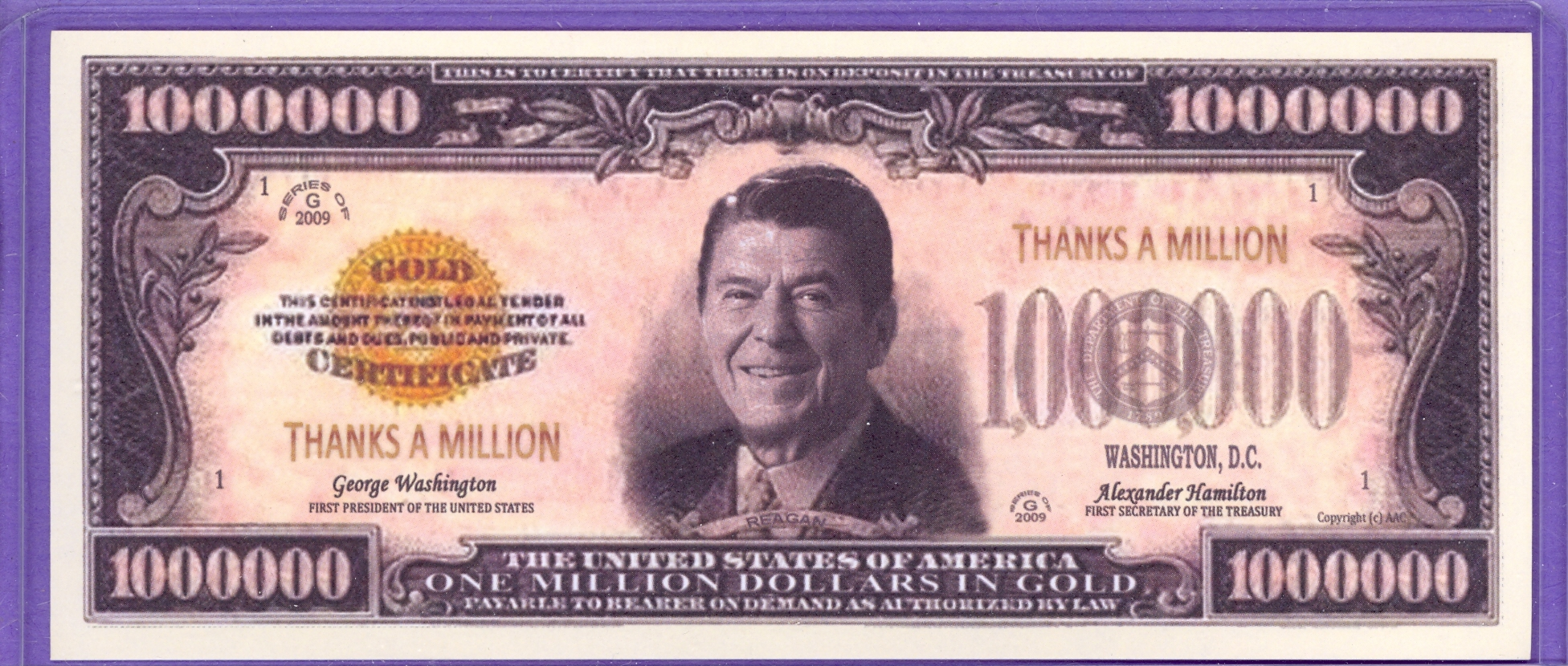 Ronald Reagan $1,000,000 in Gold Fantasy or Novelty Note