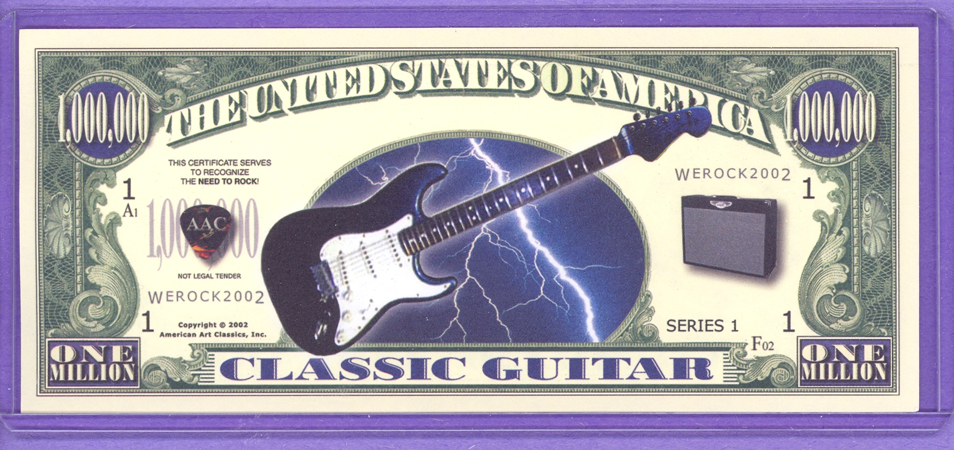 2002 Guitar $1,000,000 Novelty Note
