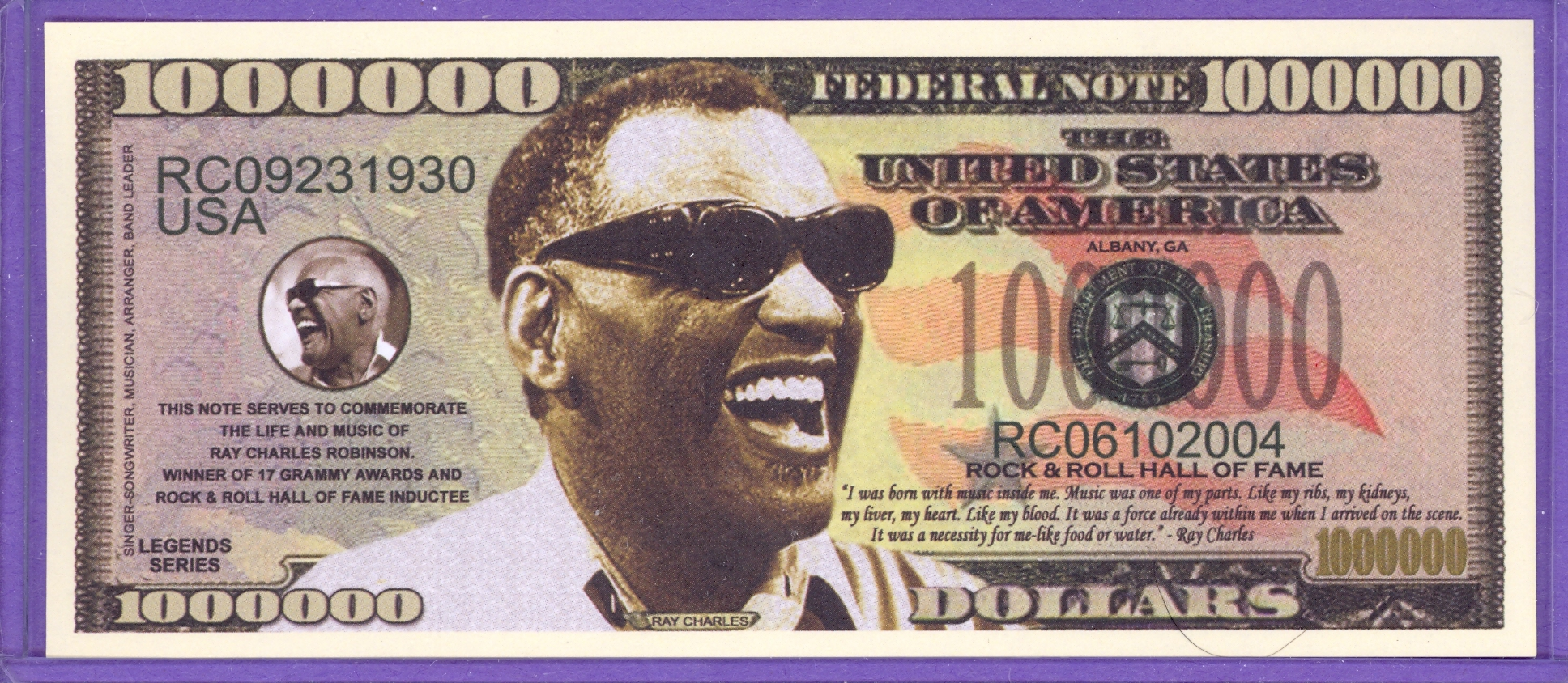 Ray Charles $1,000,000 Novelty Note