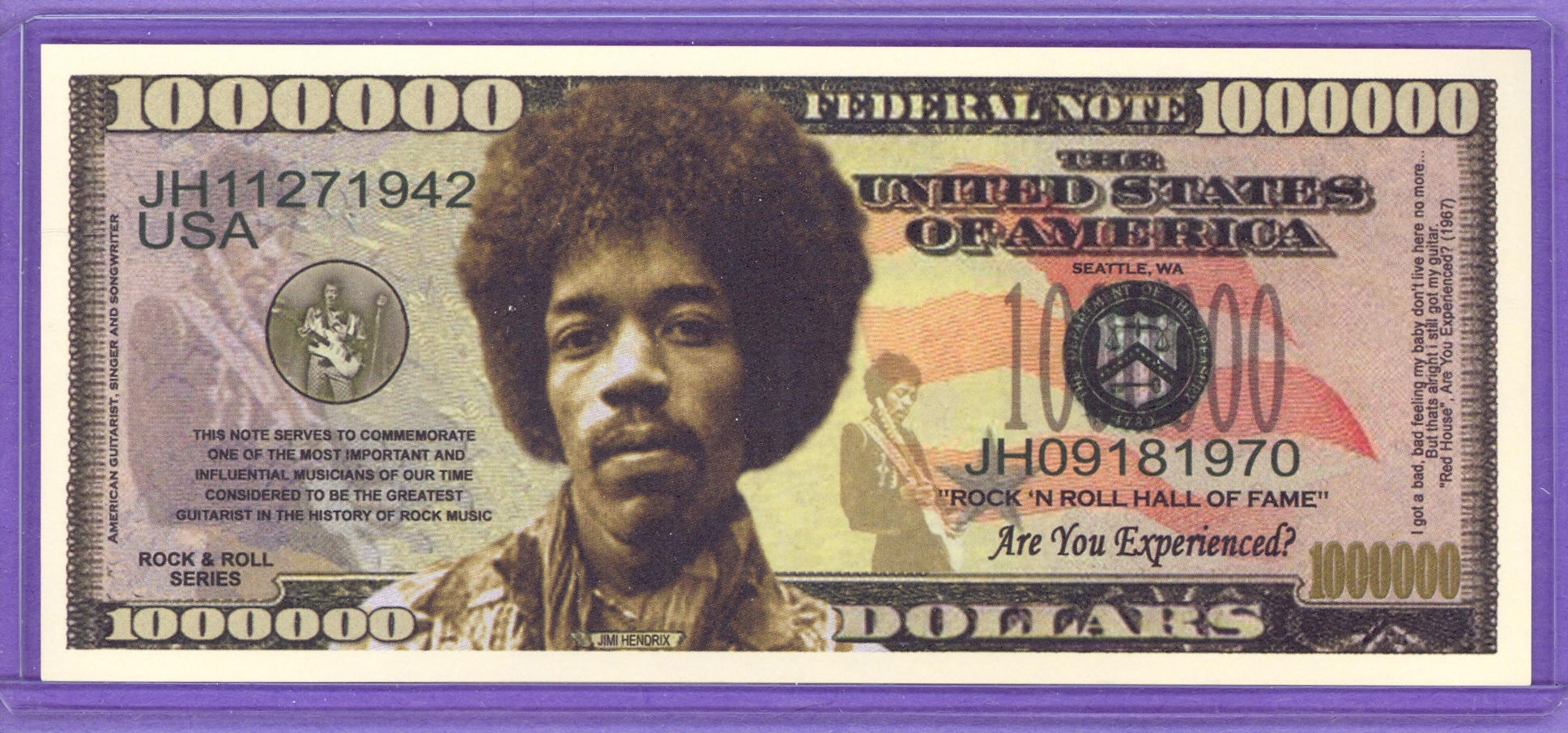 Jimi Hendrix $1,000,000 Novelty Note -Rock & Roll Series