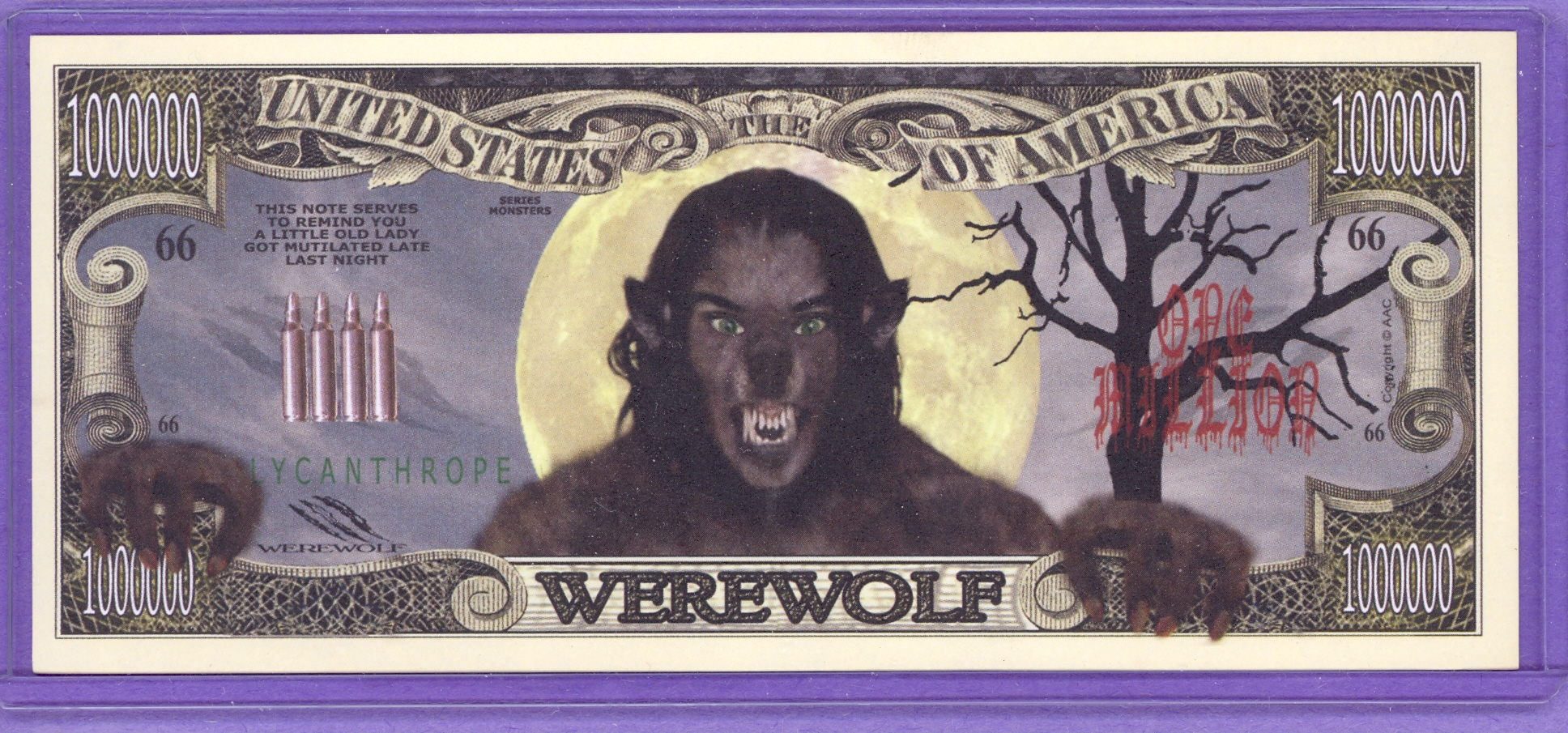 Werewolf $1,000,000 Novelty Note