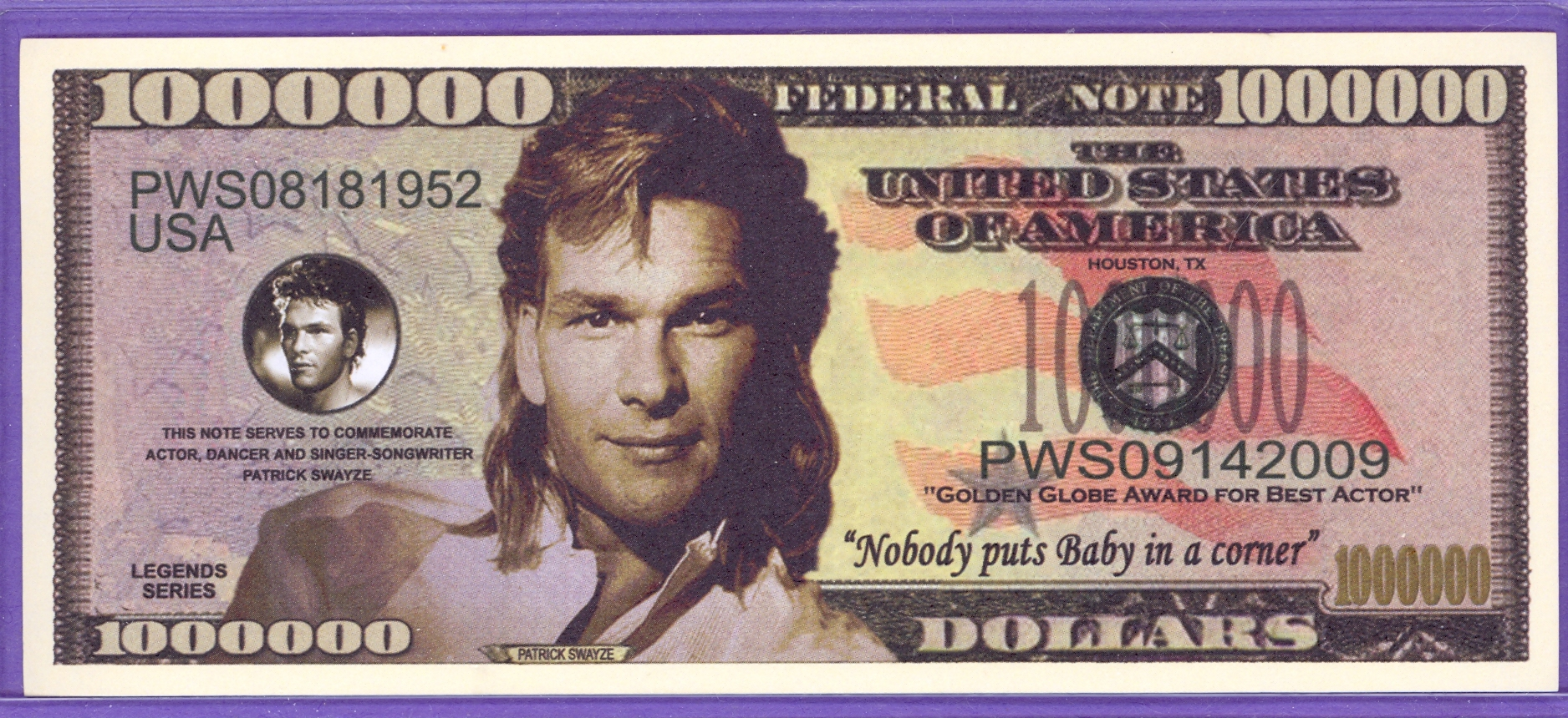 Patrick Swayze Million Dollar Note