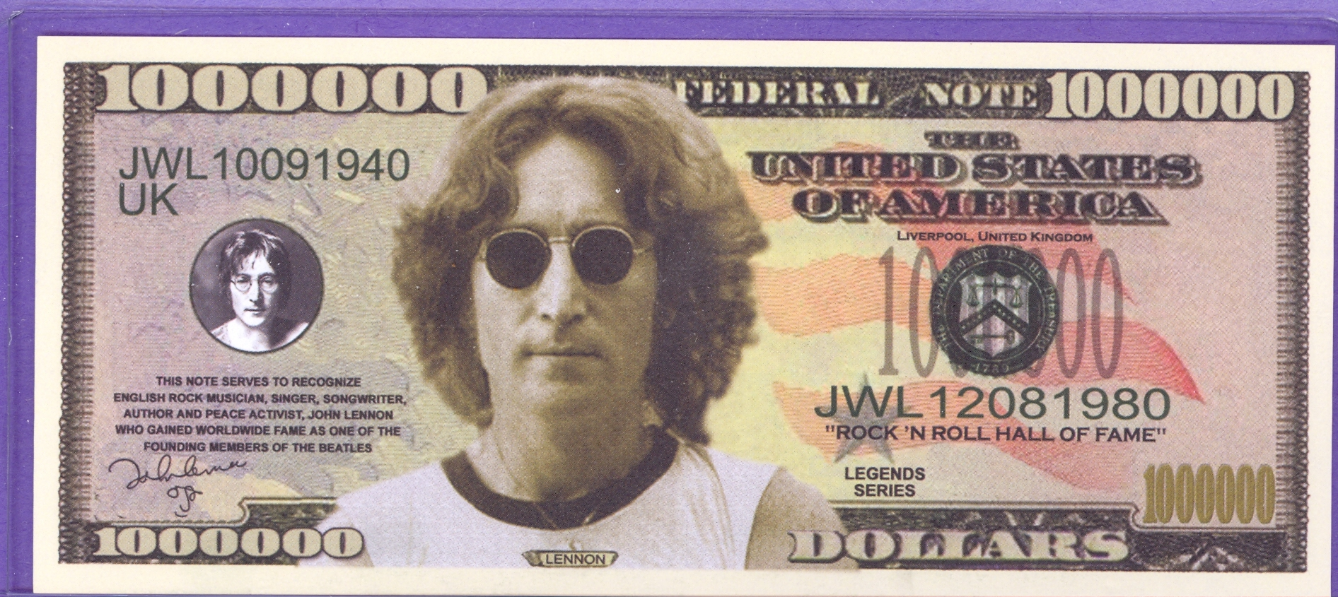 John Lennon Million Dollar Note - The Beatles