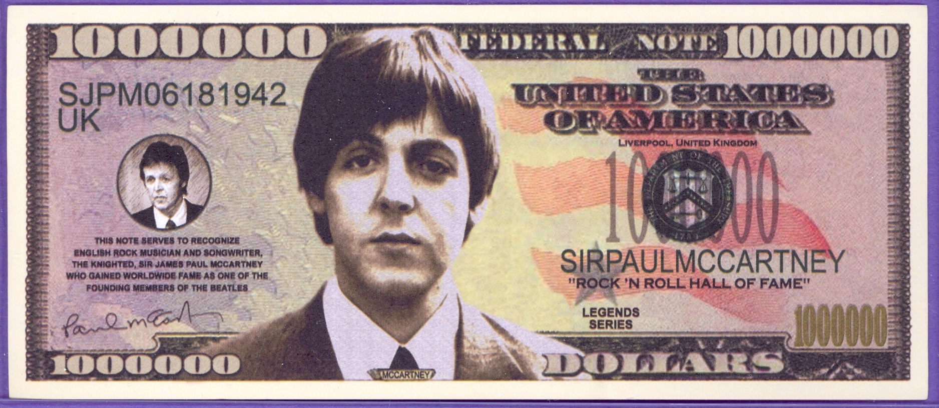 Sir Paul McCartney Million Dollar Note - The Beatles