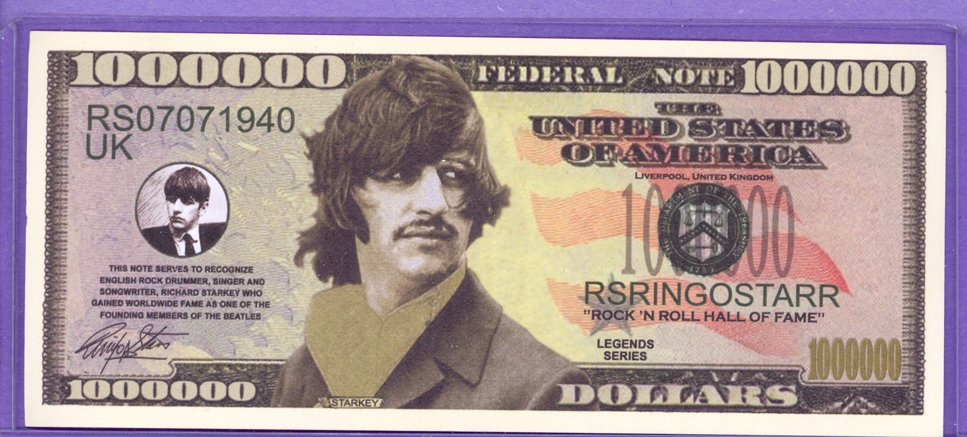 Ringo Starr Million Dollar Note - The Beatles