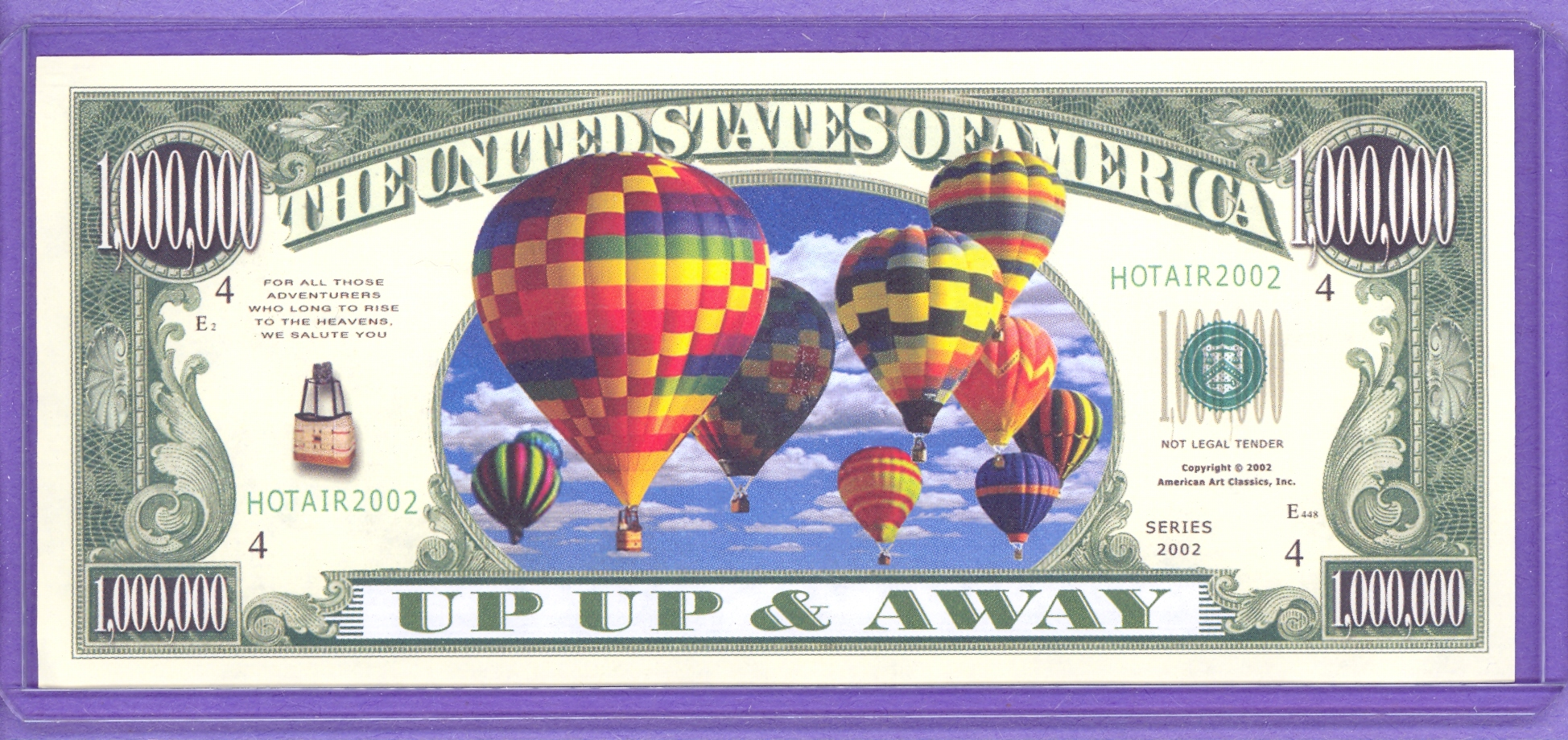 Hot Air Balloon $1,000,000 Fantasy Note