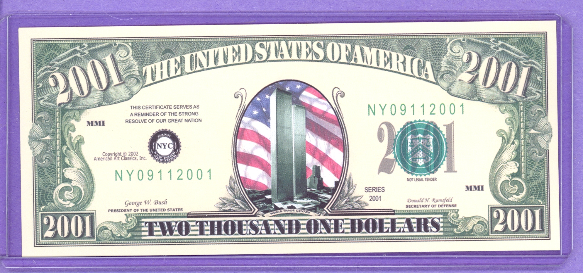 World Trade Center Twin Towers $2001 Fantasy Note