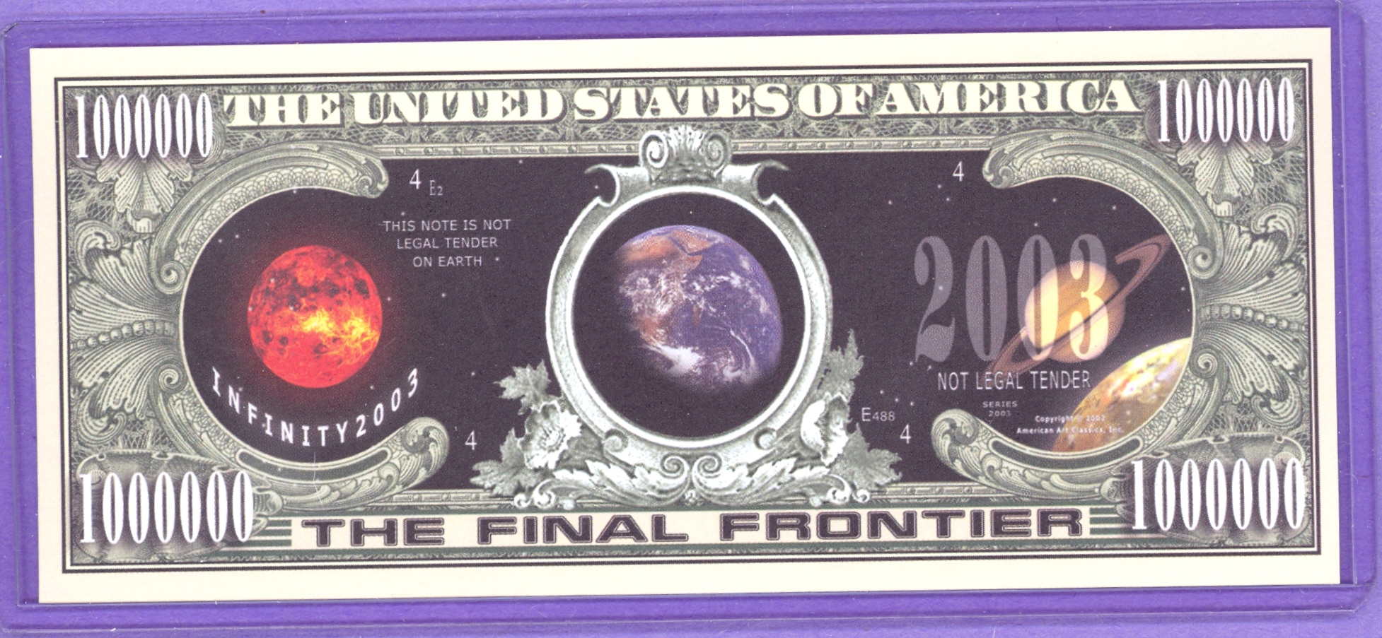 The Final Frontier $1,000,000 Planetary Dollars Note
