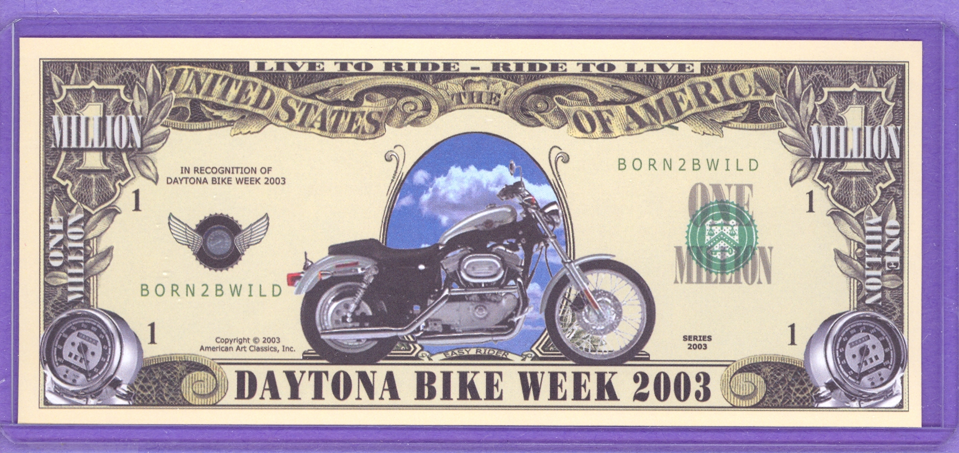 2003 Daytona Bike Week Fantasy $1,000,000 note