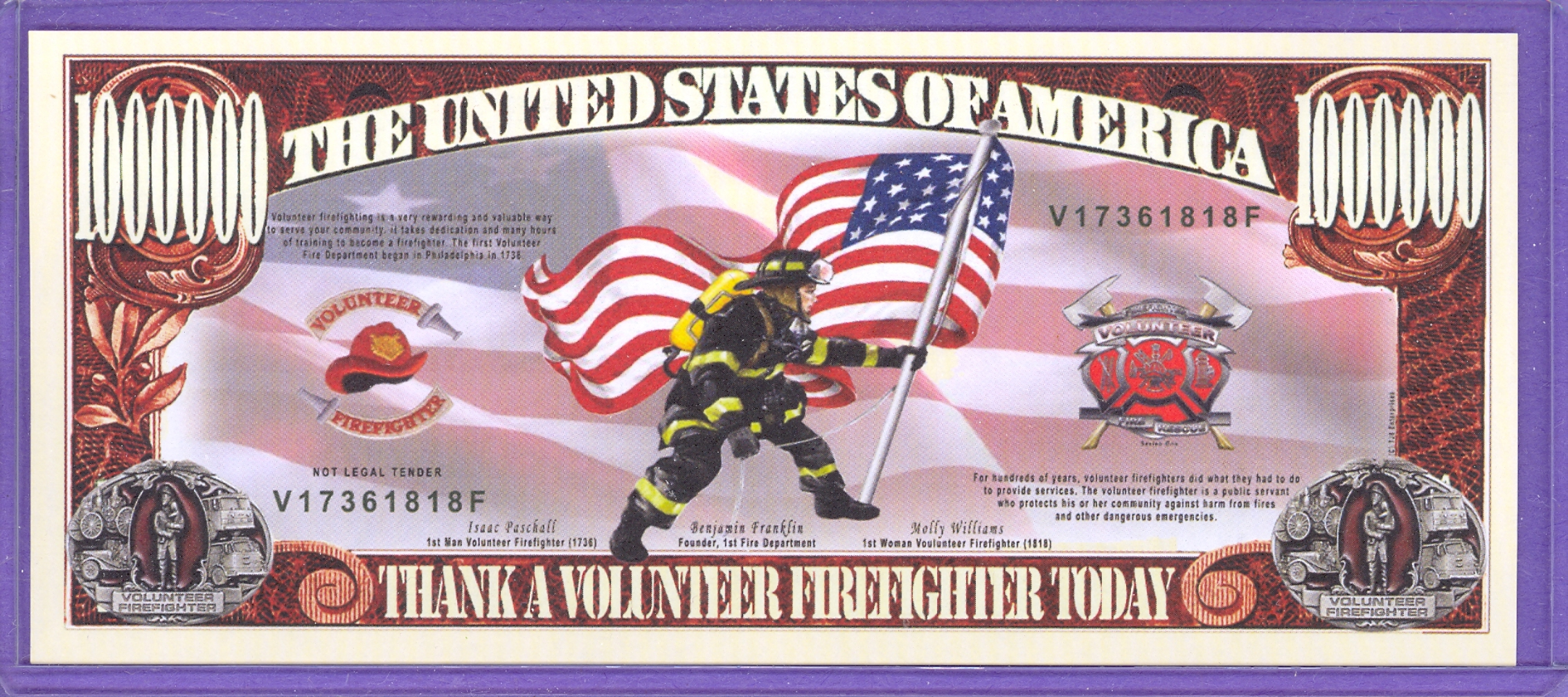 Volunteer Firefighter $1,000,000 Novelty Note