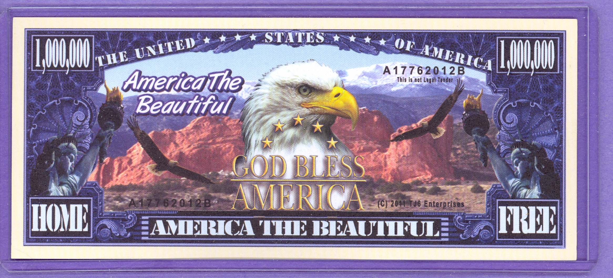 America The Beautiful $1,000,000 Novelty Note