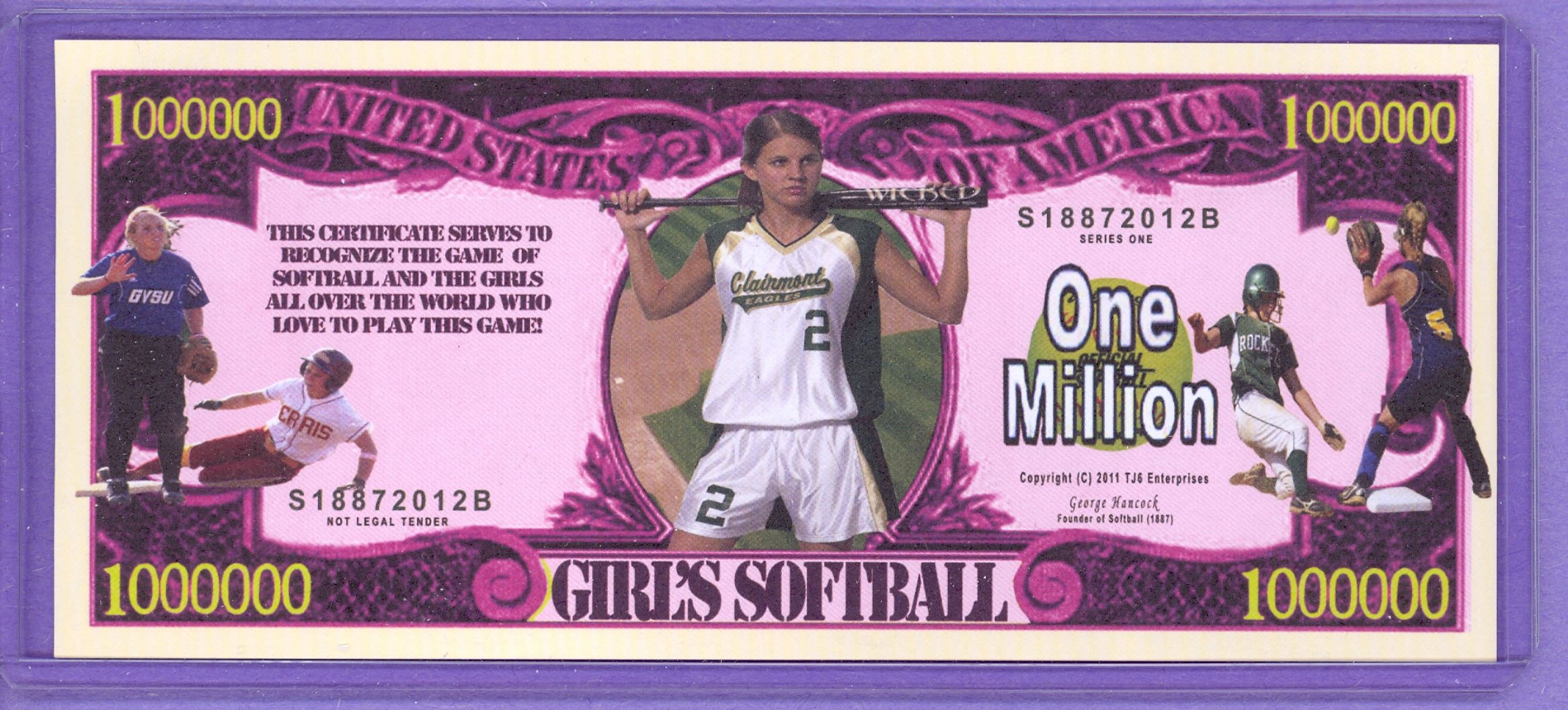 Girl's Softball $1,000,000 Novelty Note