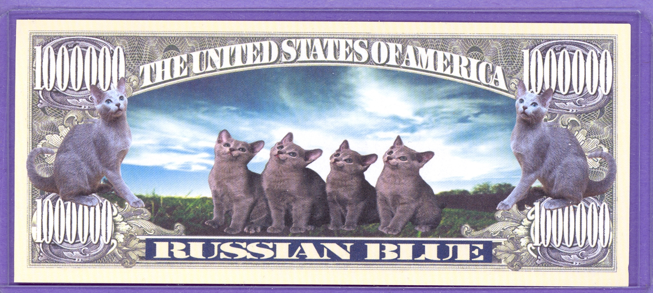 Russian Blue $1,000,000 Novelty Note - Cats