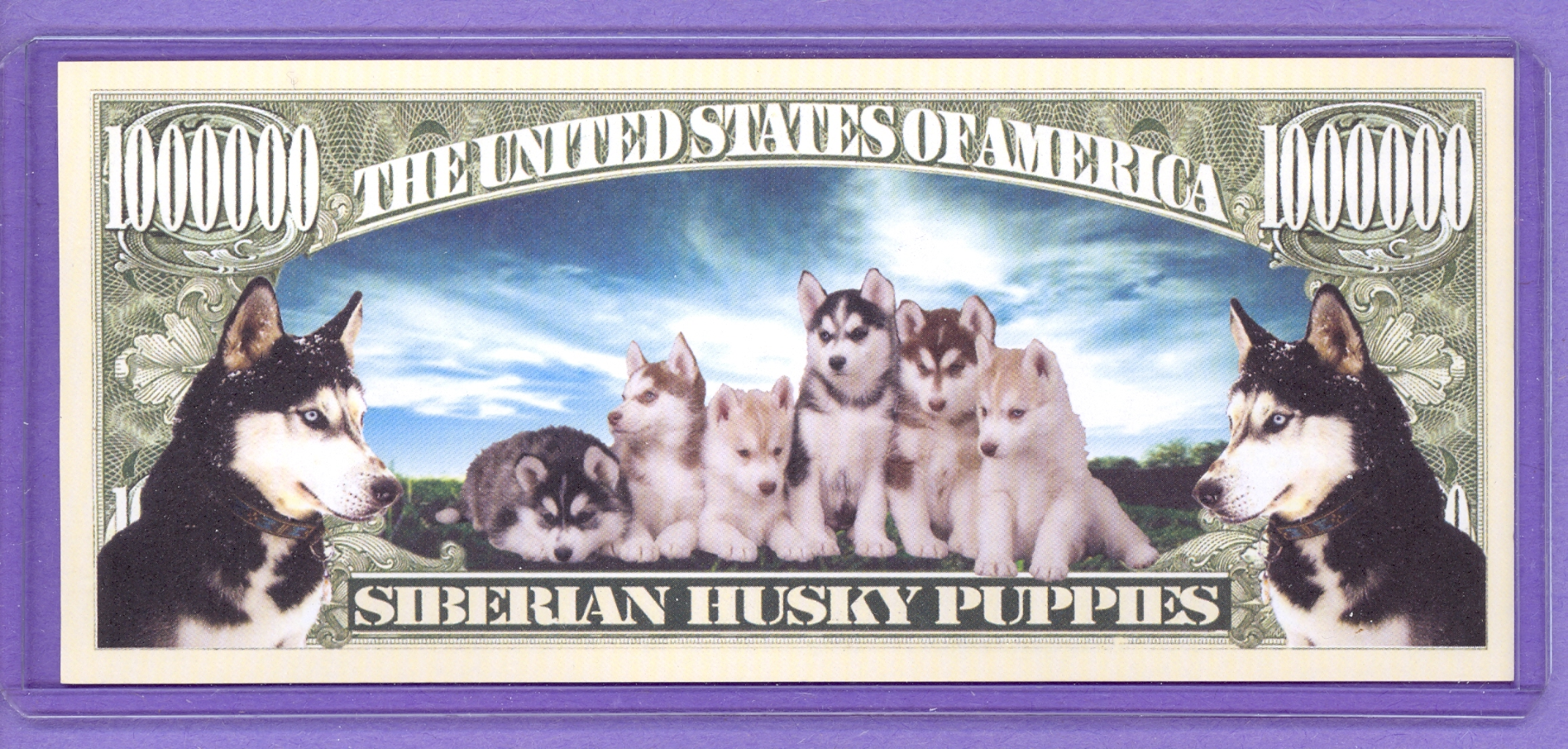 Siberian Husky Puppies $1,000,000 Fantasy or Novelty Note