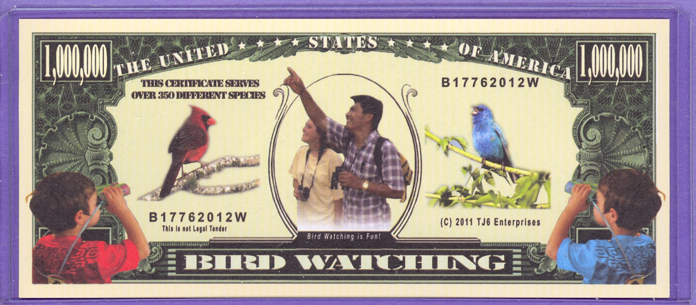 Bird Watching $1,000,000 Novelty Note