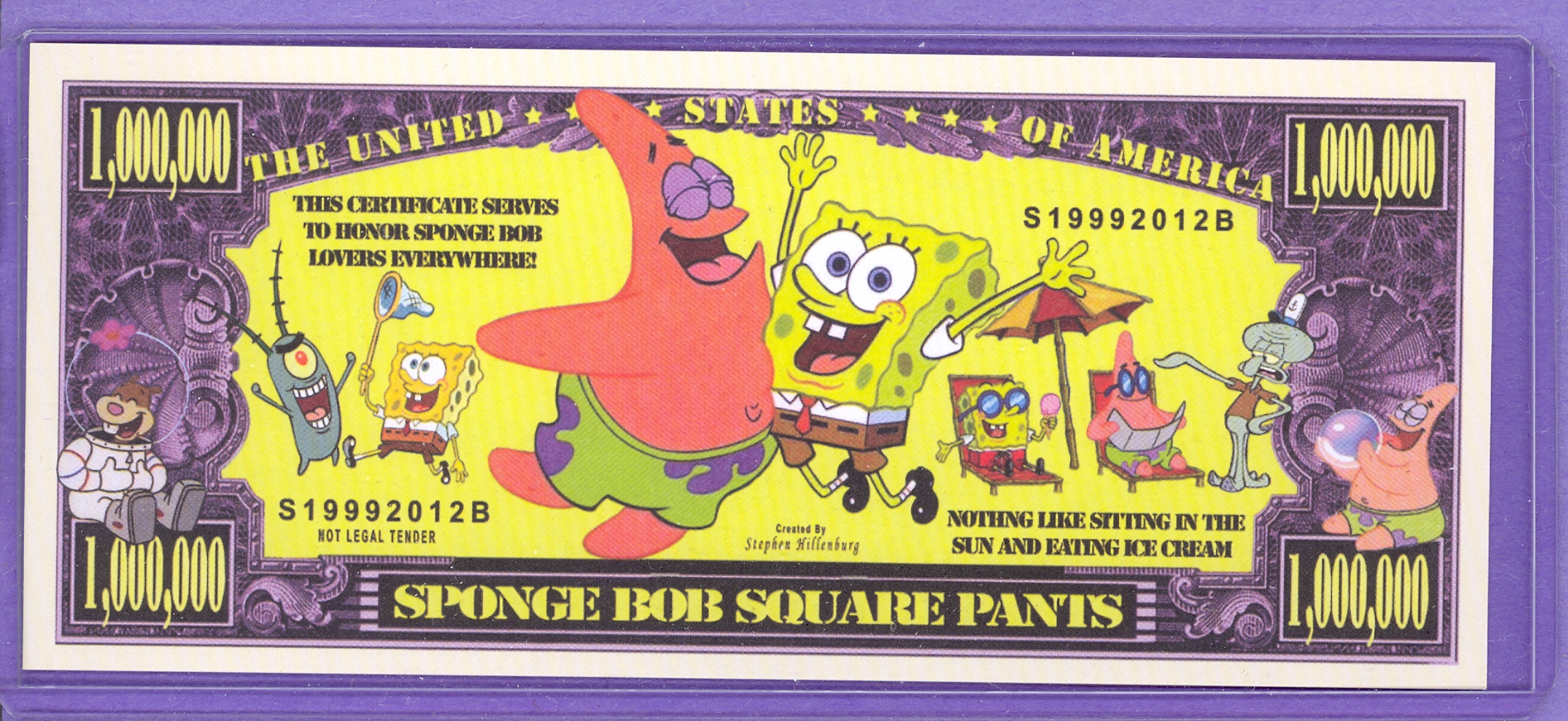 Sponge Bob Square Pants $1,000,000 Novelty Note