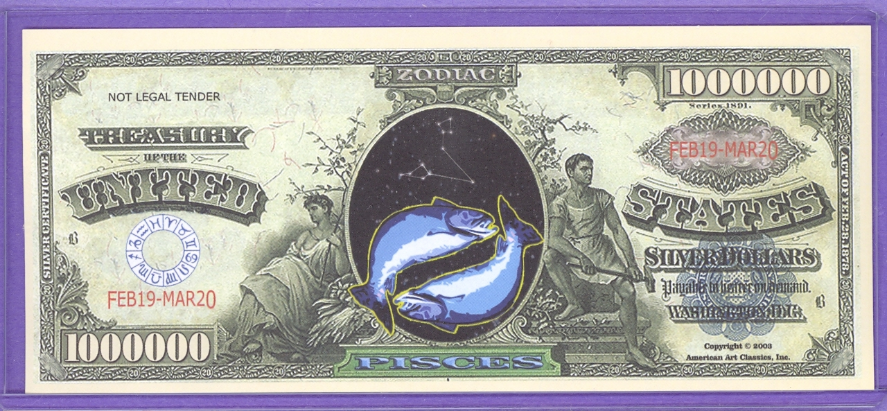 One Million Dollar Novelty or Fantasy Note Zodiac - Pisces