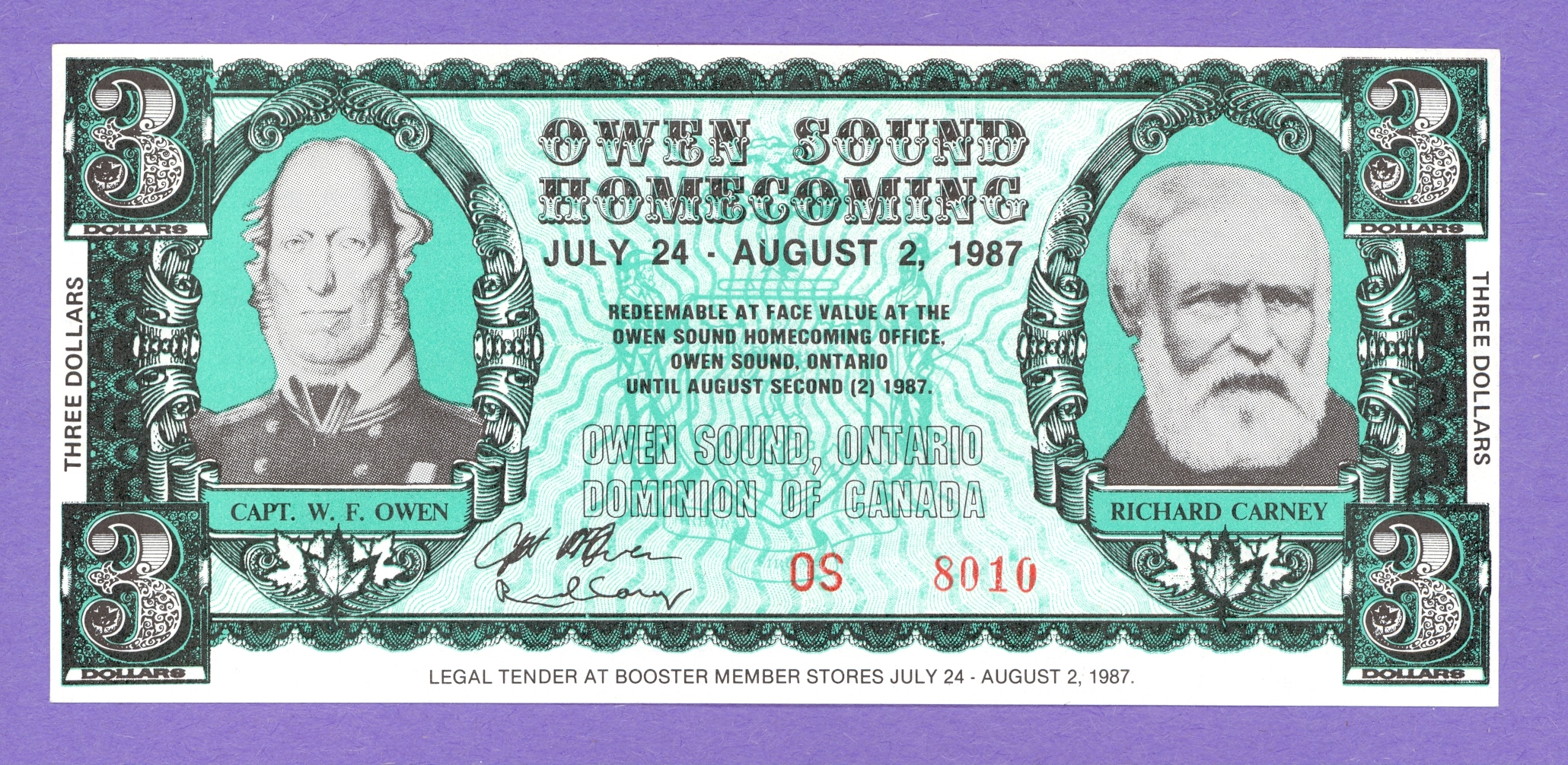 1987 $3.00 Owen Sound Ontario Homecoming Note