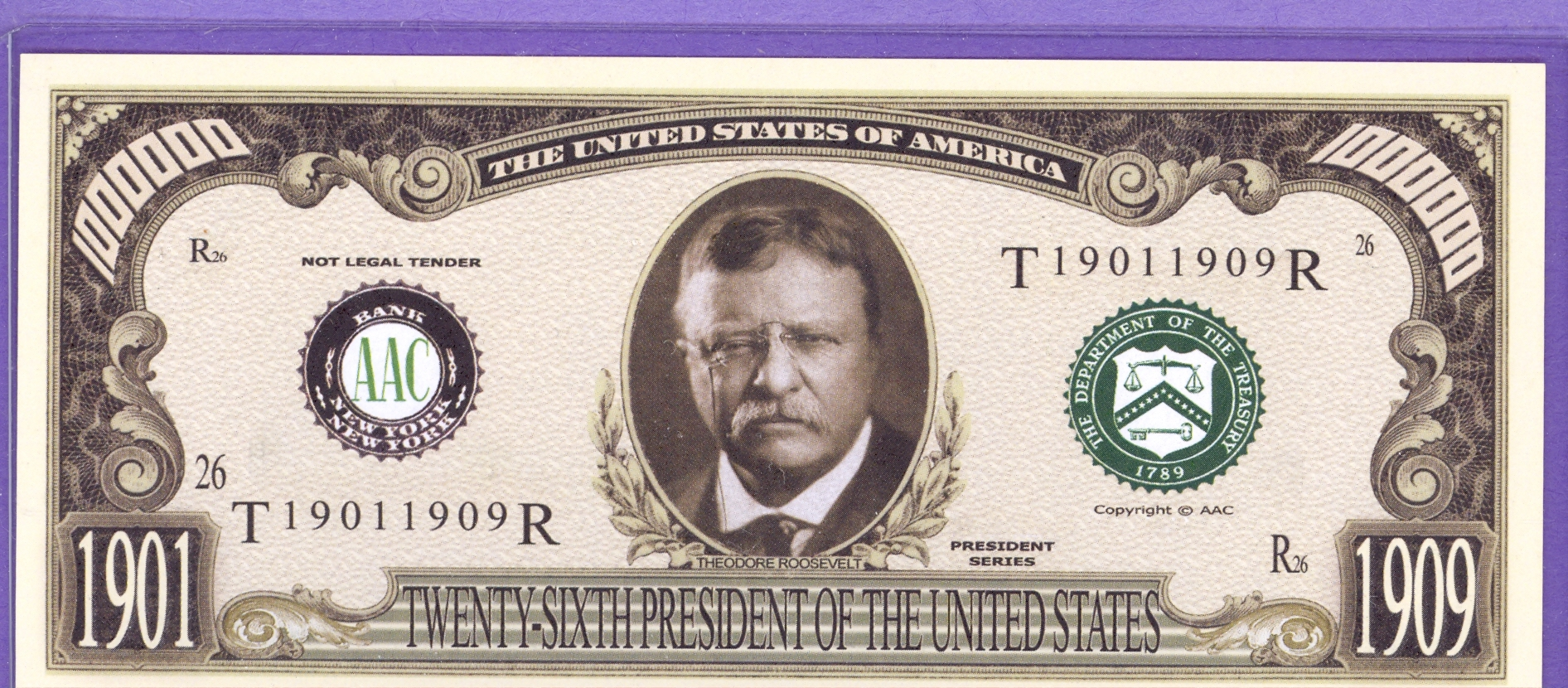 Theodore Roosevelt $1,000,000 Fantasy Note