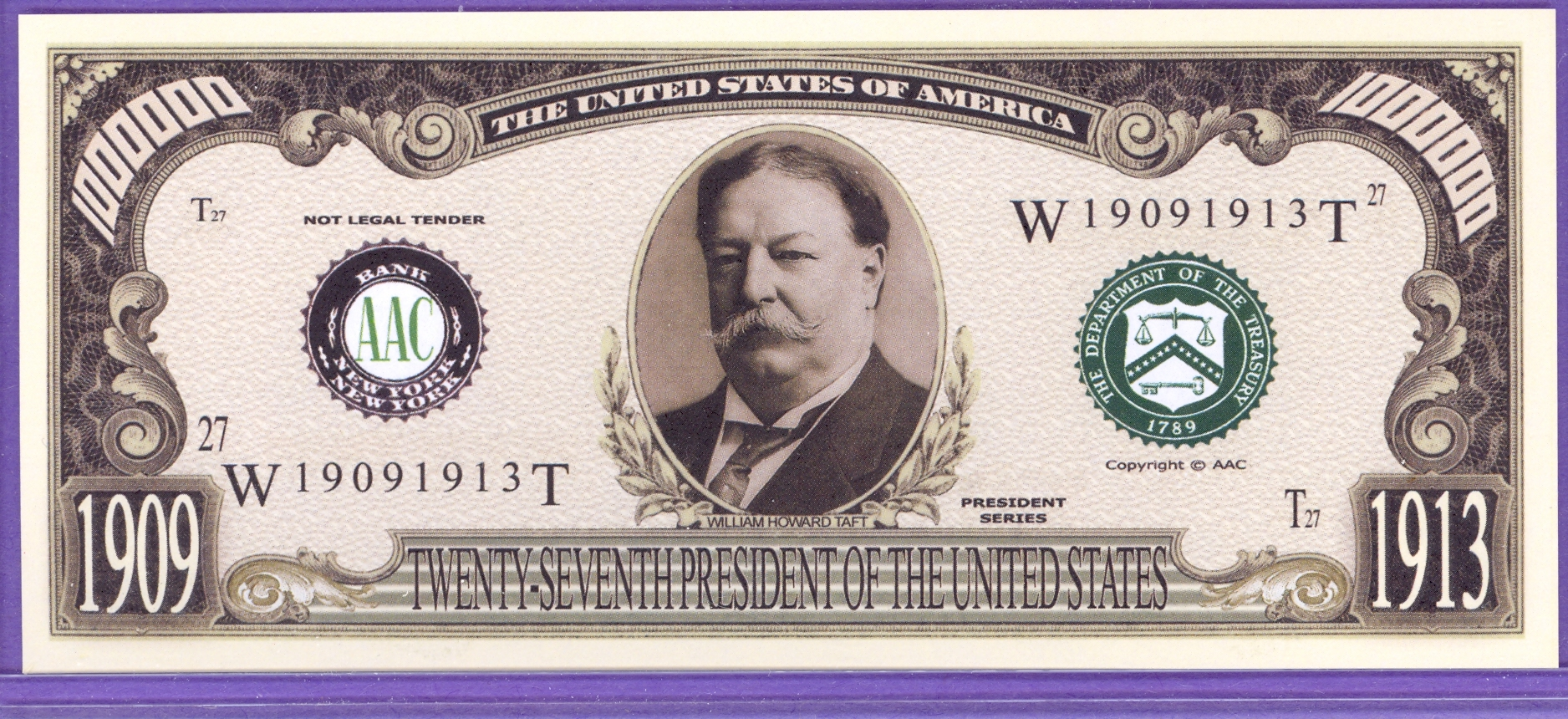 William Howard Taft $1,000,000 Fantasy Note