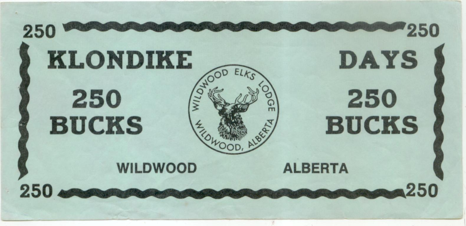 Wildwood Alberta undated 250 Bucks note