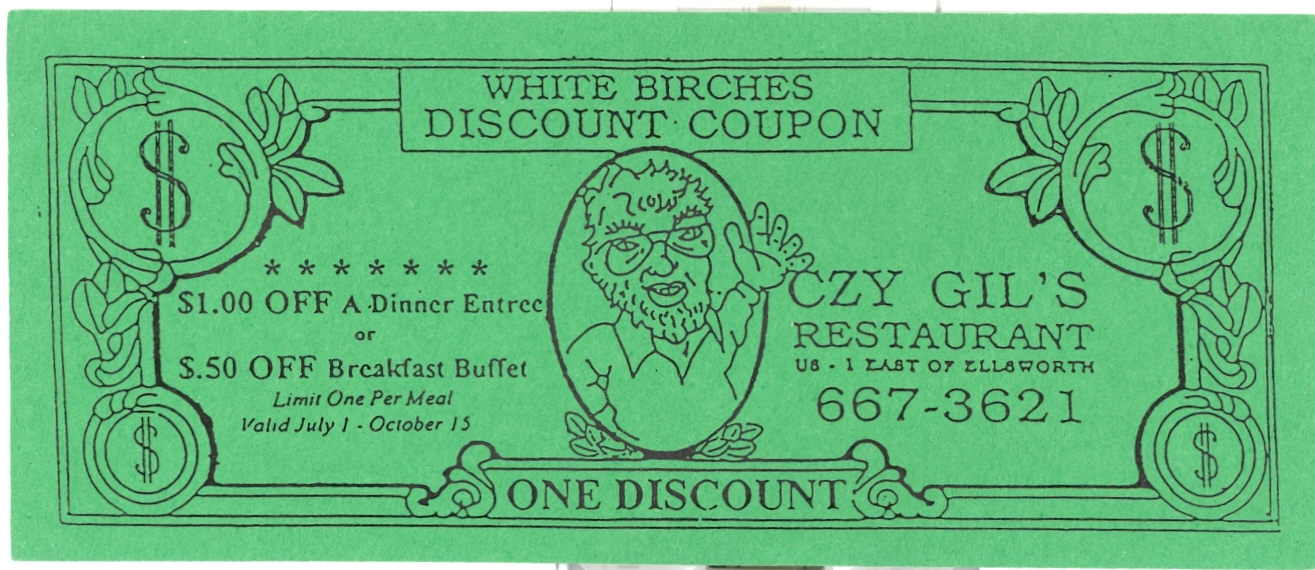 Oczy Gil's Restaurant White Birches Discount Coupon